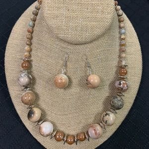 Hearth Tones Jasper Necklace and Earrings set